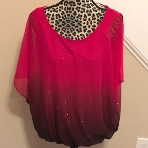 Sara Michelle Red Black Ombré Glitter Holiday Top